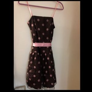 Pink and brown polka dot dress